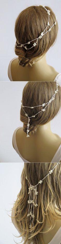 Wedding crochet Pearl headband Bridal hairband Pearl by selenayy