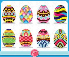 Easter Clip Art colorful Easter eggs pattern Ideal for Scrapbook, Cards, Invitations,Party,Paper Craft Ed003. $5.00, via Etsy.
