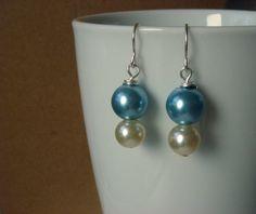 Bridal Pearl Earrings Pale Blue & Ivory Pearl by ScarlettRose. $10.00, via Etsy.