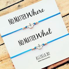 "Set of Two Compass Friendship Bracelets with ""No Matter Where No Matter What"" Card 