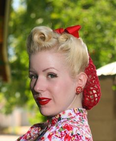 Items similar to Vintage Retro Pinup Hair Snood in Cherry Red Crocheted from Design Featured in Victory Girls Magazine on Etsy Mode Vintage, Vintage Girls, Retro Vintage, Vintage Style, Vintage Trends, Vintage Cups, Vintage Ideas, Vintage Glamour, Vintage Beauty
