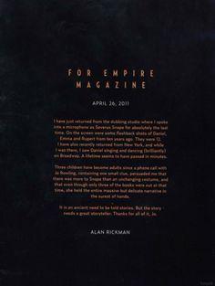 La lettera d'addio di Alan Rickman ai fan di Harry Potter e Severus Piton