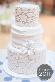Romantic lace wedding cake by Amy Beck Cake Design; Photo by Clary Photo #weddings