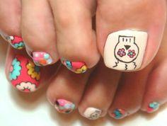 Nail art Cute Nail Art Designs, Toe Nail Designs, Nail Polish Designs, Get Nails, Hair And Nails, Sugar Skull Nails, Painted Toes, Toe Nail Art, Fabulous Nails