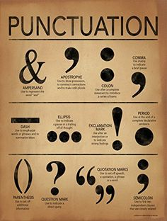 Punctuation Grammar and Writing Poster For Home, Office or Classroom. Fine Art Paper, Laminated, or Framed Punctuation Grammar and Writing Poster For Home, Office or Classroom.Art Print: Punctuation - Gramm ar and Writing Poster by Jeanne Stevenson : Grammar Posters, Writing Posters, Book Writing Tips, English Writing Skills, Writing Words, Punctuation Posters, Grammar Rules, English Lessons, Writing Help