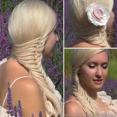 Side swept mermaid braid for long hair