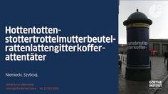 """Kampania reklamowa Goethe-Institut. Pokazuje charakterystyczne dla języka niemieckiego długie słowa. Najdłuższe z nich ma 80 liter! – Donaudampfschifffahrtselektrizitätenhauptbetriebswerkbauunterbeamtengesellschaft. Hasłem kampanii jest: """"Niemiecki. Szybciej. Intensywne letnie kursy języka niemieckiego w Goethe-Institut."""" Agencja: lenivastudio"""