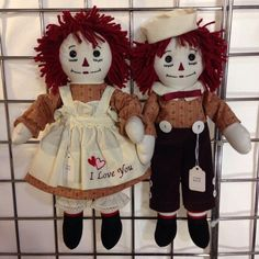 15 inch Handmade Raggedy Ann and Andy Dolls/Burgundy Hair, Old Rose With Tiny Cherries Print