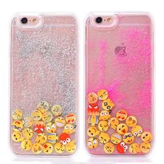 Glitter Dynamic  Phone Cases For iphone 5S Case For iphone 5 6 6S Plus i6 Funny Luminous Smile Face Emoji Liquid Quicksand Cover