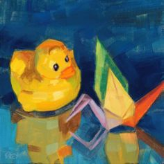 Birds of a Feather?, oil, 6x6, © 2014 Philip Frey  Rubber Ducky seems to like Origami Crane but she's being coy. I started this piece month ago at a still life workshop in Bar Harbor as a demo piece. Just finished it. Enjoy.