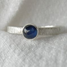 Petite Sapphire Sterling Stacking Ring Rustic PMC by westbyron