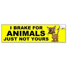 I BREAK FOR ANIMALS BUMPER STICKERS