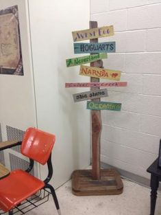 Old directional sign with fictional places for high school English classroom. English Literature Classroom, English Classroom Decor, Ela Classroom, High School Classroom, Classroom Setup, Classroom Displays, Classroom Organization, Highschool Classroom Decor, Future Classroom