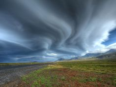 Snæfellsnes Peninsula, Iceland - Photograph by Matthew Wynyard. During a magic trip driving round Iceland, it was raining a lot. After crossing over Snæfellsnes Peninsula, everything changed, and these amazing lenticular clouds appeared. Beautiful Sky, Beautiful Landscapes, Beautiful World, Beautiful Scenery, Iceland Wallpaper, Best Nature Images, Lenticular Clouds, Weather Cloud, Sky And Clouds