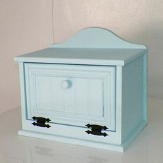 Blue Bread Box Distressed Wood Farmhouse  Rustic Shabby Country Primitive  Country Kitchen Decor
