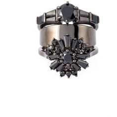 Iosselliani Black on Black Memento Ring (18.245 RUB) ❤ liked on Polyvore featuring jewelry, rings, black, iosselliani jewelry, black ring, iosselliani, black jet jewelry and black jewelry