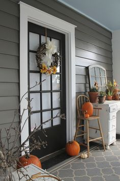 Sherwin Williams Gauntlet Gray porch desk window antique high chair pumpkins porch DIY wreath fall succulents grey black white