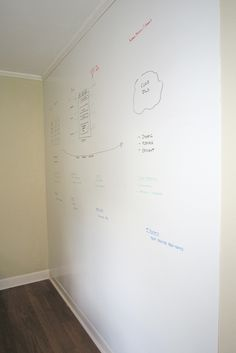 Whiteboard wall . . . made with white board paint (rustoleum brand). I seriously need one of these