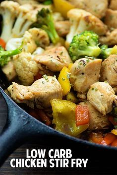 Teriyaki Chicken Stir Fry made low carb! This simple keto friendly low carb stir fry recipe is perfect for busy weeknights! Teriyaki Chicken Stir Fry made low carb! This simple keto friendly low carb stir fry recipe is perfect for busy weeknights! Healthy Stir Fry Sauce, Stir Fry Low Carb, Healthy Chicken Stir Fry, Chicken Stir Fry Sauce, Chicken Vegetable Stir Fry, Fried Vegetables, Chicken And Vegetables, Stir Fry Vegetables Healthy, Veggies