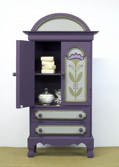 Small Plum Colored Cabinet with Flowers -- Upcycle a cabinet found at a flea market with dramatic color.