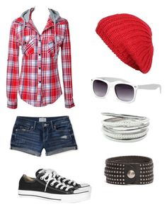 """""""Red and White"""" by ashley-masiello ❤ liked on Polyvore featuring Converse, Agent Ninetynine, American Eagle Outfitters, Roots, women's clothing, women's fashion, women, female, woman and misses"""