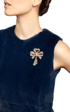 Antique Diamond Bow Brooch by Simon Teakle for Preorder on Moda Operandi