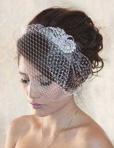 Wedding Birdcage Veil with Crystal rhiestone brooch via Etsy
