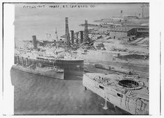 dhmvintageviews:  Fitting - out wharf - N.Y. Shipbuilding Co. (LOC) by The Library of Congress on Flickr.