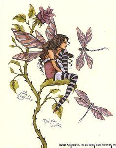 Distant Cousins, Sticker #fantastyart #AmyBrown #faery #dragonfly