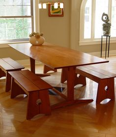 Dining table by Daniel Chaffin Furniture - see FWW article also. Cool variable bevel at table edge