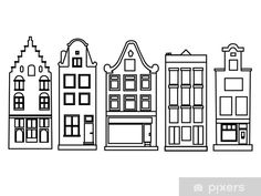 Dutch old canal houses Wall Mural ✓ Easy Installation ✓ 365 Days to Return ✓ Browse other patterns from this collection! Christmas Makes, Christmas Crafts, House Doodle, Amsterdam Houses, Christmas Window Decorations, Christmas Doodles, House Drawing, House Wall, Elementary Art