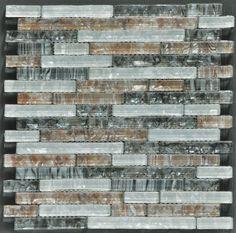 Pearlesque 12 x 12 - White/ Black/ Coffee Lnr Glass Mosaic