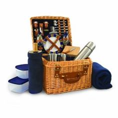Wedding gift:Picnic Time Canterbury English Style Picnic Basket with Deluxe Service for Two