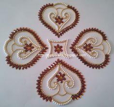 EC Indian Handicrafts' (Customized Kundan Rangolis): Double shell-design Kundan Re-arrangeable Rangoli Rangoli Patterns, Rangoli Designs Diwali, Hand Embroidery Designs, Beaded Embroidery, Embroidery Stitches, Acrylic Rangoli, Diwali Diy, Flower Rangoli, Bird Crafts