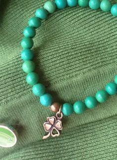 St. Patrick's Turquoise Bracelet/ teen/ women's gemstone stretch bracelet/ Kelly Green/ 4 Leaf Clover/ Luck of the Irish Saint Patrick's Day by Ivanwerks on Etsy