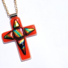 Cross Pendant Slice of Heaven Fused Glass Jewelry by IntoTheLight