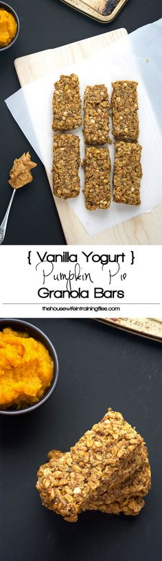 A homemade granola bar bursting with fall flavors of pumpkin pie spice, cinnamon and vanilla yogurt chips! These bars are full of flavor, moist and healthy so you can indulge this holiday season! #glutenfree #healthy