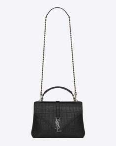 SAINT LAURENT Classic Medium Monogram Saint Laurent Collège Bag In Black Crocodile Embossed Leather. #saintlaurent #bags #shoulder bags #hand bags #leather #lining #