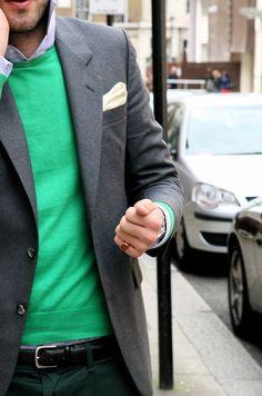 Recreate with Sherwood Green Dockers, Chapar Black Leather Business Belt, Sunspel Brushed Cotton Denim Melange Shirt, Tommy Hilfiger Fern Green Knit, Scotch and Soda Chic Stretch Blazer Grey Melange and Scotch and Soda Forest Green Pocket Square.