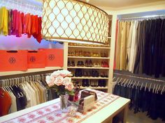 Boutique-style closet/dressing room of Honey We're Home blogger, Megan #closet #dressing_room #organizatin #Tory_Burch