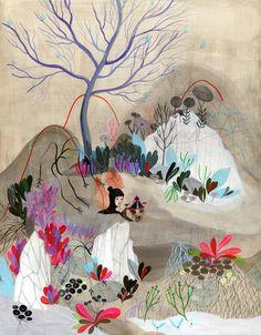 Snowmelt original painting by Betsy Walton Illustration Sketches, Illustrations And Posters, Art Inspo, Art Amour, Ouvrages D'art, Arte Popular, Naive Art, Art Graphique, Art Design