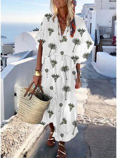 STYLISHPOP Vacation Printed Loose V Collar Maxi Dress – stylishpop pretty casual dresses,dress ideas casual,fall casual dresses,casual dresses outfit, fashion style dress, Maxi Dress With Sleeves, Belted Dress, Short Sleeve Dresses, Smock Dress, Floral Print Maxi Dress, Boho Dress, Dress Beach, Outfit Beach, Floral Sundress