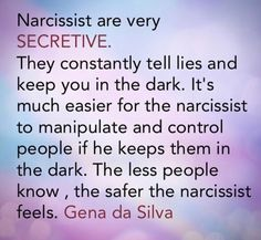 He is more controlling that way also. Always about control and power with a narcissist.