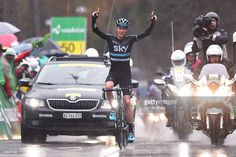 Christopher Froome of Great Britain celebrateswhile crossing the finish line during stage 4 of the Tour de Romandie on April 30, 2016 in Villars-sur-Ollon, Switzerland. #TDR2016 #rm_112