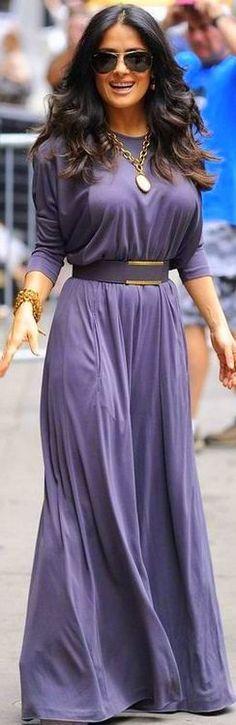 Salma Hayek: Belted maxi and jewelry.