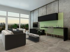 Soaring living room with floor to ceiling views outdoors features minimalist style, including a pair of armchairs and sofa in matching white and grey tones. Black shelving floats around a large soft green wall panel at right.