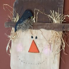 Wooden Scarecrow - fall decor - porch - wood scarecrow - wall decor - hand painted - october - thanksgiving - Fall decorations - door decor