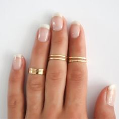 Eight Piece Simple Classic Wish List Gold Plated Golden Stacking Ring Sets Midi Ring - CAD $ 4.16