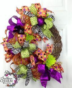 Deco Mesh HALLOWEEN Ribbon Wreath Orange Lime Purple Black Door Wreath by www.southerncharmwreaths.com $77