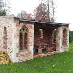 pavillion garten Antique building materials of antique stone Rustic Outdoor, Outdoor Decor, Brick Bbq, Pavillion, Classic Garden, Small Buildings, Pergola Designs, Outdoor Projects, Building Materials